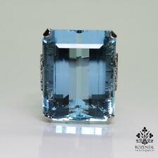 Antique Edwardian Platinum 40ct. Aquamarine & 1.15ct. Diamond Ring