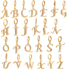 Women Gold Plated Cubic Zirconia CZ English Letters Drop Earrings Jewelry