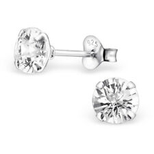Sterling Silver 6mm Round Simulated Diamond Studs Earrings Genuine SOLID 925