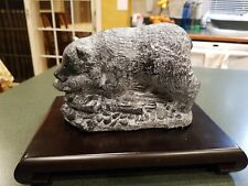 """The Wolf Sculptures Canadian 7"""" Brown Bear W/ Salmon Hand Carved With Stand"""