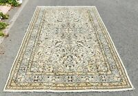 Hand Knotted Vintage Oushak Carpet Anatolian Oriental Design Wool Area Rug 7x9ft