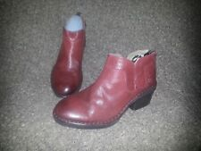 FLY LONDON-Dias Nevada Burgundy Red Leather Back Zip Ankle Boots-SZ 37-NEW