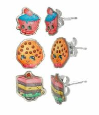 Shopkins Stainless Steel Trio Earrings: Cupcake Chic, Kooky Cookie, Le 'Quorice