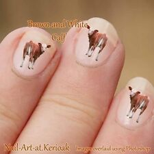 Calf nail Art Stickers Decals Farm Animal Nailart, baby cow