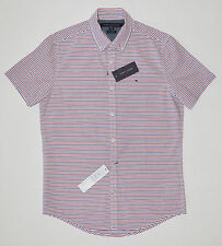 NWT TOMMY HILFIGER men Casual Short Sleeve Shirt, S, Small, White, New York Fit