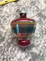 Vintage Shiny Brite Christmas Ornament Mercury Glass Figural Top Striped Pink