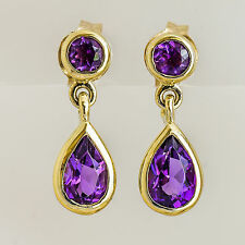 NATURAL AMETHYST EARRINGS ROUND PEAR CUT AMETHYST 9K GOLD FEBRUARY BIRTHSTONE