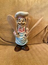 Vintage Retro Chef Kitchen Utensil Holder 11 inches High With Wooden Utensils