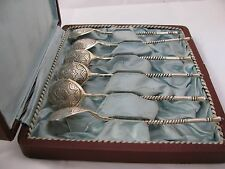6 ANTIQUE RUSSIAN SILVER SPOONS SET in BOX GILDING MOSCOW 1882