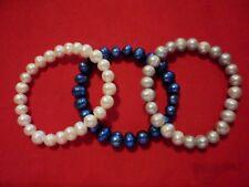 Freshwater White, Blue & Gray Pearl Set of 3 Bracelets (Stretchable)