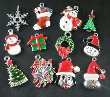 12pcs Christmas Mixed Charms Enamel Alloy Jewelry DIY U1-13