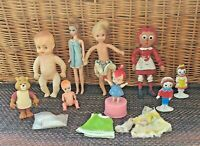 Huge Lot Plastic Dolls & Toys (9) Pcs Raggedy Ann, Bam Bam, Teddy Ruxpin Vintage