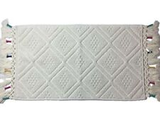 Textured Ivory Diamond Pattern Bath Rug With Colored Finge 20x34 Cotton Mat