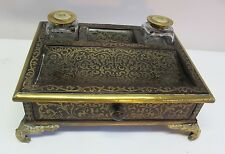 Fine FRENCH EMPIRE BOULLE Work & Rosewood Ink Stand  c. 1870   antique desk set