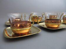 Vintage 50s 60s TEESET 6 Gläser mit Halterungen Mid Century Modern Style