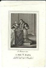 Stampa antica SAN PIO V PAPA IN PREGHIERA 1840 Old Antique print