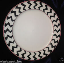 "CHRISTOPHER STUART KENYA 10.5"" DINNER PLATE BLACK WHITE ZIG ZAP STRIPES ZEBRA"