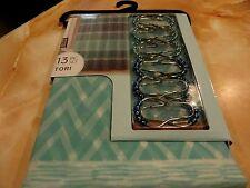 13 pc Aqua Blue Gray Horizontal Zig Zag~Chevron Striped Peva Shower Curtain~hook