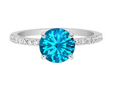 1.20 TCW Round Cut Blue Topaz Engagement Ring with Pave Diamond Band