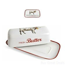 Butter Dish Vintage Look Country Lid Cover Stoneware Farmhouse Cow Serving Tray