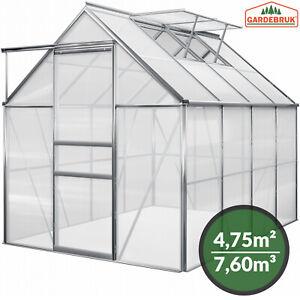 Gardebruk Gewächshaus 4,75m² Treibhaus Tomatenhaus Dachfenster Schiebetür 7,6m³