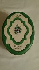 Collectible Vintage Godiva ChocolaTier Oval Tin Green and Yellow (empty)