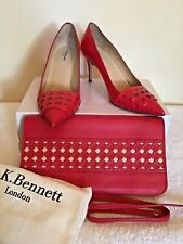 LK BENNETT CHERRY RED LEATHER HEELS & MATCHING CLUTCH BAG SIZE 7/40
