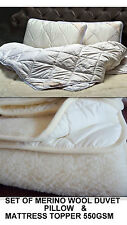 SET of Merino Wool cotbed Duvet Quilt 8tog + PILLOW+ Mattress Topper woolmarked