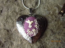 HUMMINGBIRD (PURPLE) CAMEO SILVER PLATED HEART LOCKET -UNIQUE, HANDMADE, BIRD