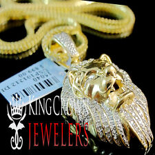 "Genuine Diamond Yellow Gold Finished King Lion Head Charm Pendant 1.65"" 0.40Ct."
