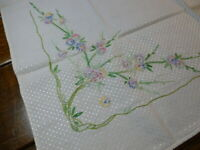 Vintage Stamped Hand Embroidered Floral Tablecloth Textured Shiny Fabric