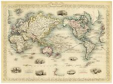 Old Map of The World on Mercator`s Projection richly illustrated Tallis 1851