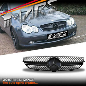 Gloss Black SLS AMG Style Bumper Bar Grille Grill to Mercedes-Benz CLK W209 C209