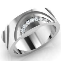 0.11 Ct Round Cut Natural Diamond Wedding Mens Ring 14K White Gold Band Size T