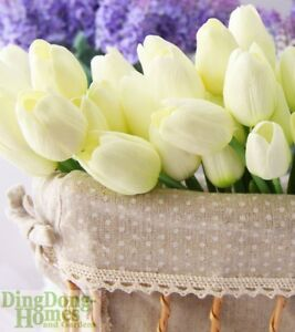 Latex Cream Ivory Real Touch Tulip Wedding Bouquet Flower Tulips Posy 24 Heads