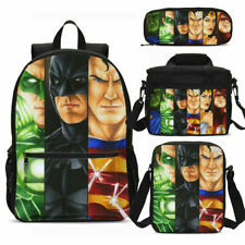 Batman vs Superman Backpack Students School Bag Insulated Lunch Bag Pen Bag 4PCS