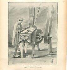 Boulangerie Boulanger Pétrissage du Pain à la Machine GRAVURE ANTIQUE PRINT 1900