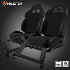 For 93-07 Subaru Impreza WRX STI Black PVC Leather Racing Seats+Brackets 2PC