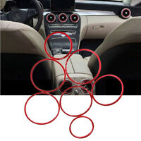 7Pcs Air Vent Outlet Insert Ring Cover Trim Red For Mercedes Benz C Class W205