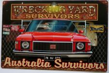HOLDEN GTS HJ 1976 WRECKING YARD SURVIVORS ALL WEATHER TIN SIGN 450X300