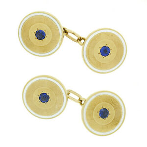 Men's Antique French 18k Gold Sapphire White Enamel Concentric Round Cuff Links