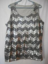 Coldwater Creek Size 1X  grey silver black sequined  sleeveless knit top