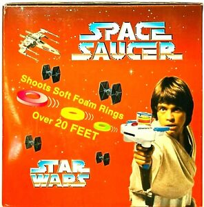 VINTAGE MIN YIN TOYS STAR WARS SPACE SAUCER GUN BATTERY OPERATED NEW IN BOX RARE