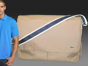 New Authentic Vintage LACOSTE MESSENGER BAG Casual 2.23 XL Expandable Dark Beige