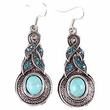 Tibet Silver Earrings Blue Turquoise Blue Rhinestone Long Dangle Hook Pierced
