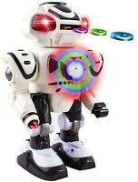 Walking Android Toy Robot With Shooting Disc Flashing Lights And Sound Action W