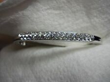 Swarovski® signed SWAN Crystal silver hinged Bracelet double Row Pave Bangle