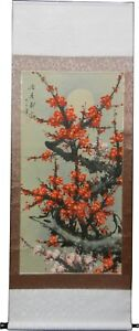Chinese Water Colour Painting Scroll - Red Cherry Blossom
