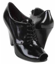 New BCBGIRLS Women Leather Ankle Heel Lace Up Peep Toe Boot Bootie Shoe Sz 9 M