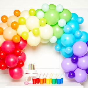 Rainbow Colour Balloon Garland Wall Balloon Decorating Kit -78 Balloons & Tape
